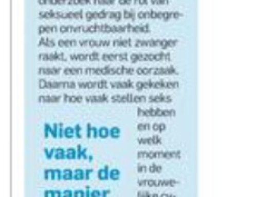 'Sekstherapie kan helpen om zwanger te raken', kopt het AD nav de oratie van Nils Lambalk